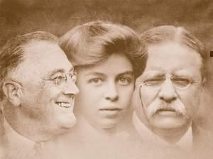 composite photo of FDR, Eleanor and Teddy Roosevelt