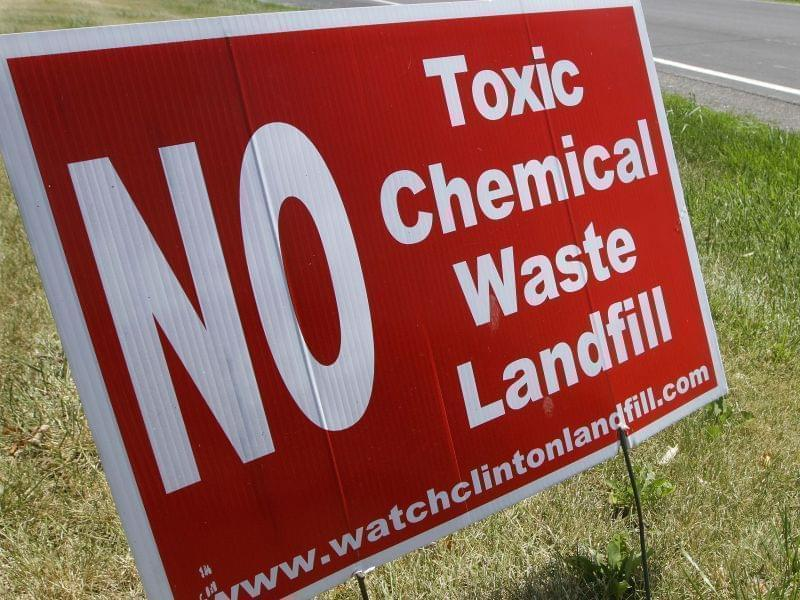 Sign in front of a lawn in Clinton, protesting the PCB waste.