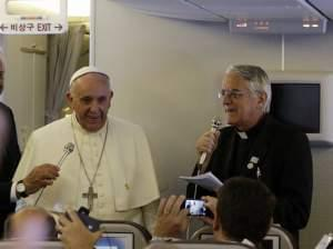 Pope Francis meets the media while airborne back to Rome