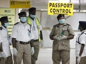 August 4 file photo of Nigerian port health officials.