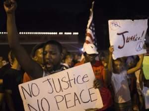 Demonstrators in Ferguson, Missouri.