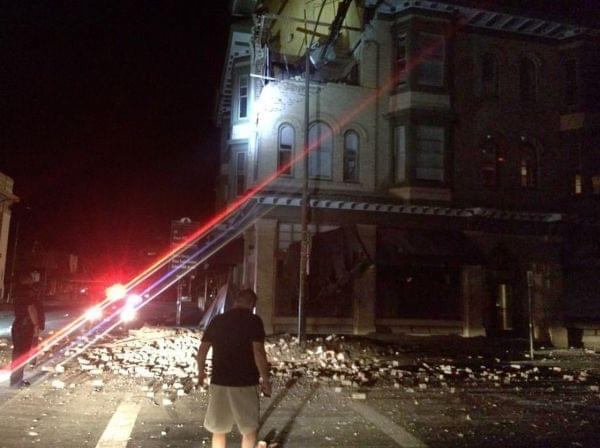 Damage to a building in Napa, California, early Sunday.