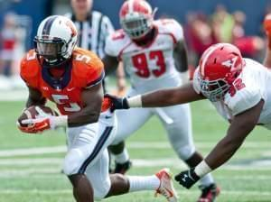 Donovonn Young tries to avoid a tackle Octavius Brown during the fourth quarter Saturday.