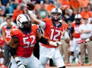 Quarterback Wes Luct throws a pass during the 1st quarter in defeat of Western Kentucky Saturday.