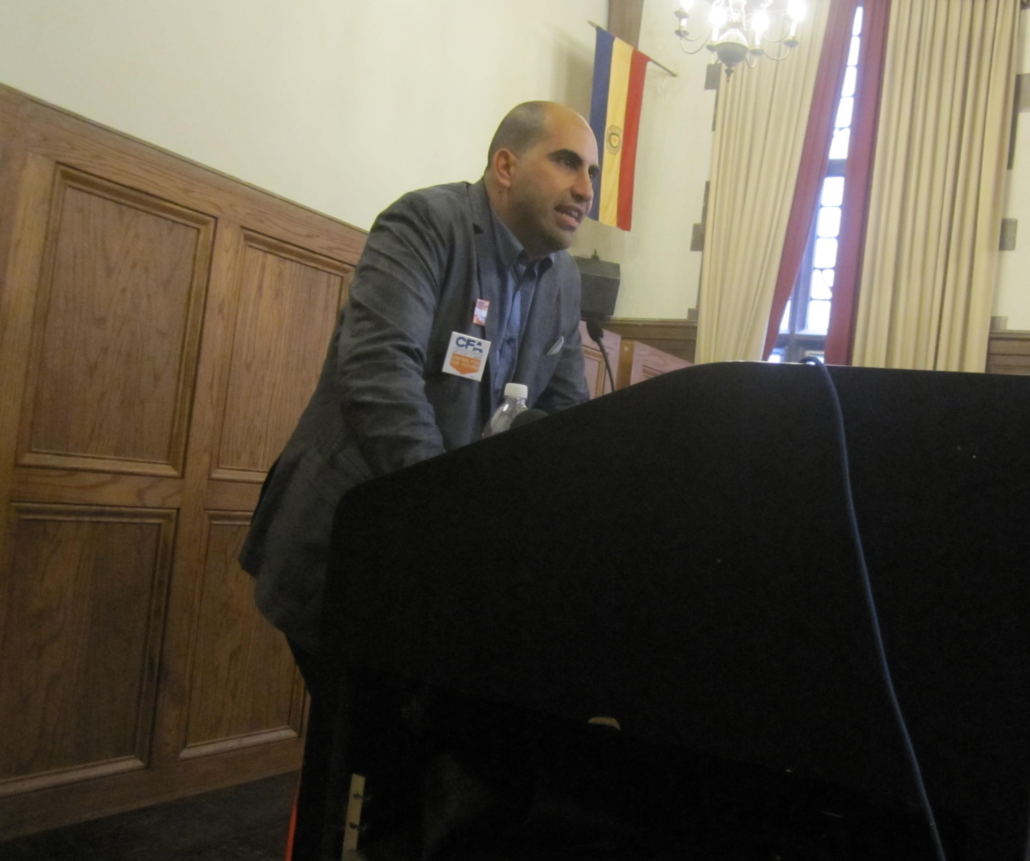 Steven Salaita speaks at the University YMCA.