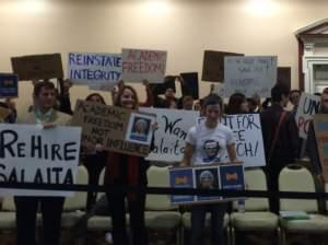 Backers of Prof. Salaita at the U of I Trustees meeting.