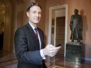 Former U.S. Sen. Evan Bayh, after his farewell speech.
