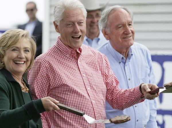Former Sec. of State Hillary Clinton, former President Bil Clinton, and U.S. Sen. Tom Harkin in Indianola, Iowa.