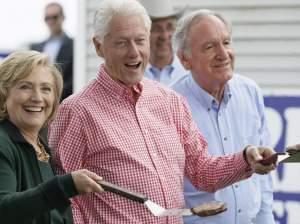 Former Sec. of State Hillary Clinton, former President Bil Clinton, and U.S. Sen. Tom Harkin in Indianola, Iowa.