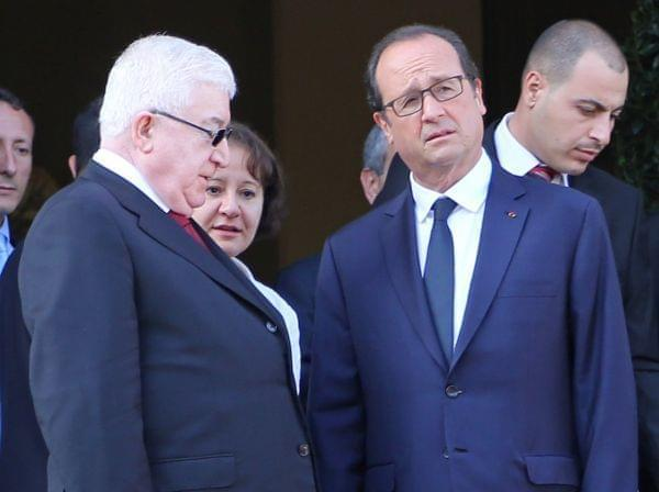 French President Francois Hollande (R), and Iraq President Fouad Massoum at the Ministry of Foreign Affairs in Paris.