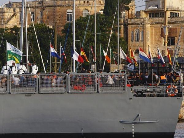 An Armed Forces of Mata ship arrives base in Valletta last October.