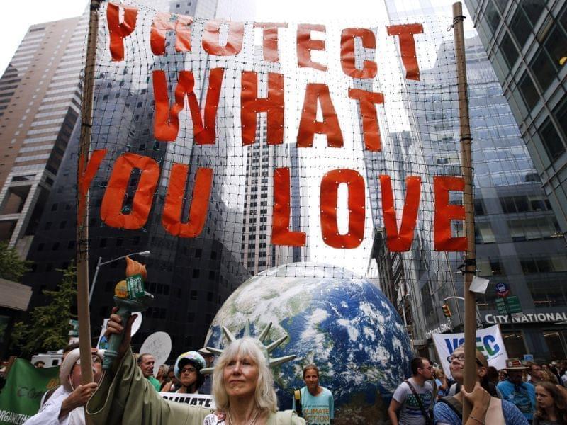 Demonstrators in New York Sunday.