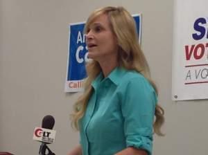 Ann Callis campaigns in Bloomington.