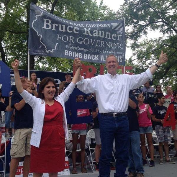 Republican gubernatorial candidate Bruce Rauner with his running mate, Evelyn Sanguinetti at the 2014 State Fair in Springfield.