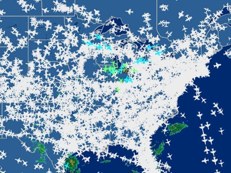 This screen shot provided by FlightAware shows airline traffic United States Friday, Sept. 26, 2014.