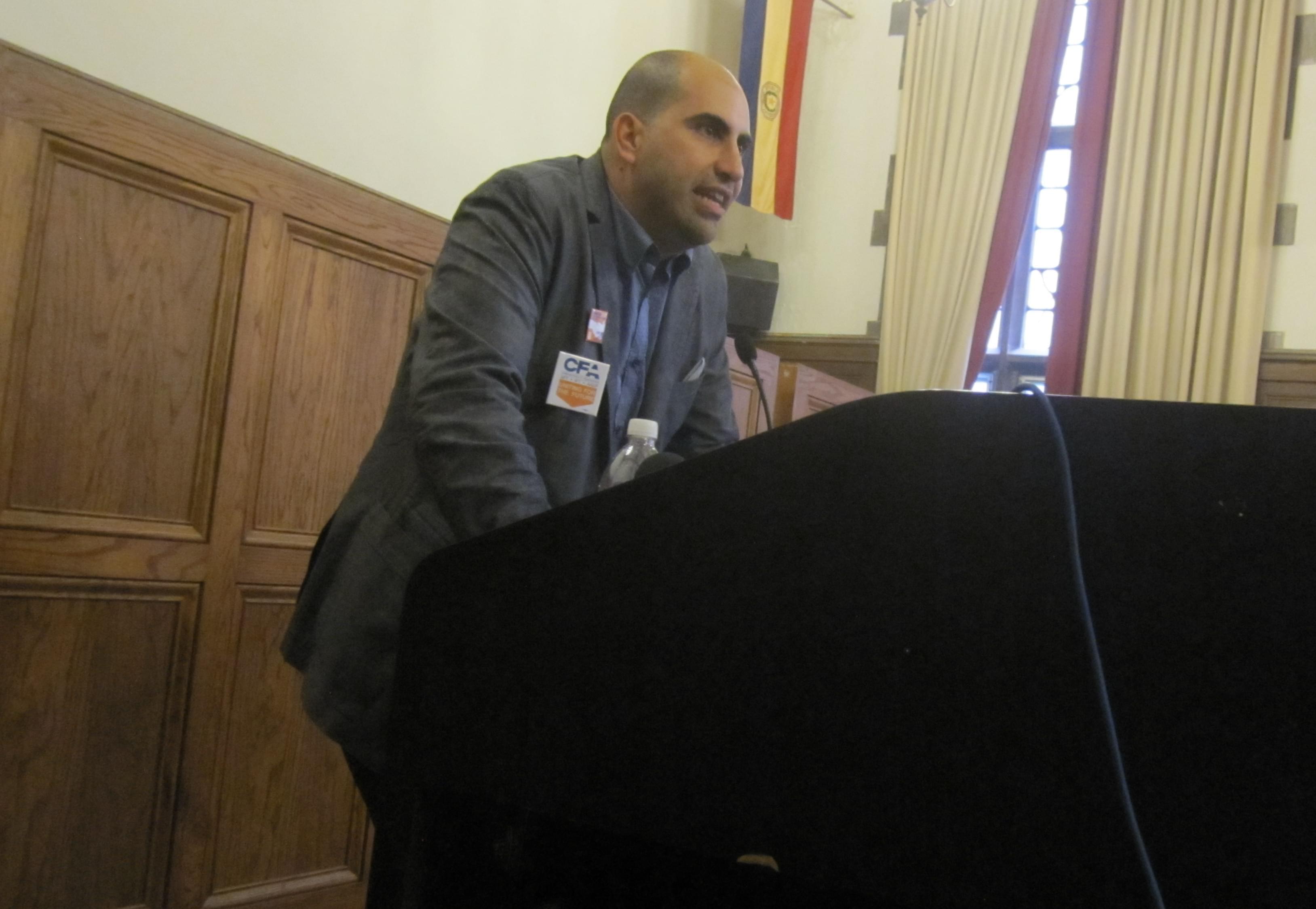 Steven Salaita speaking at the University YMCA September 9.