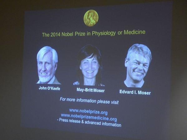A screen presents the winners of the Nobel Prize in Medicine