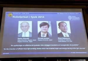 A screen shows the laureates of the Nobel Prize in Physics in Stockholm Tuesday.