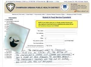 Restaurant complaint form