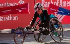 Tatyana McFadden crosses the finish line Sunday in Chicago.