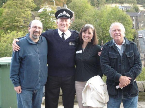 Alan J.W. Bell and Ken Kitson pose with WILL staffers David Thiel and Danda Beard.