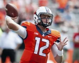 Wes Lunt throws a pass against Youngstown State in Champaign on August 30.