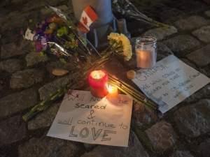 A memorial on a downtown street a block away from the Canadian War Memorial.