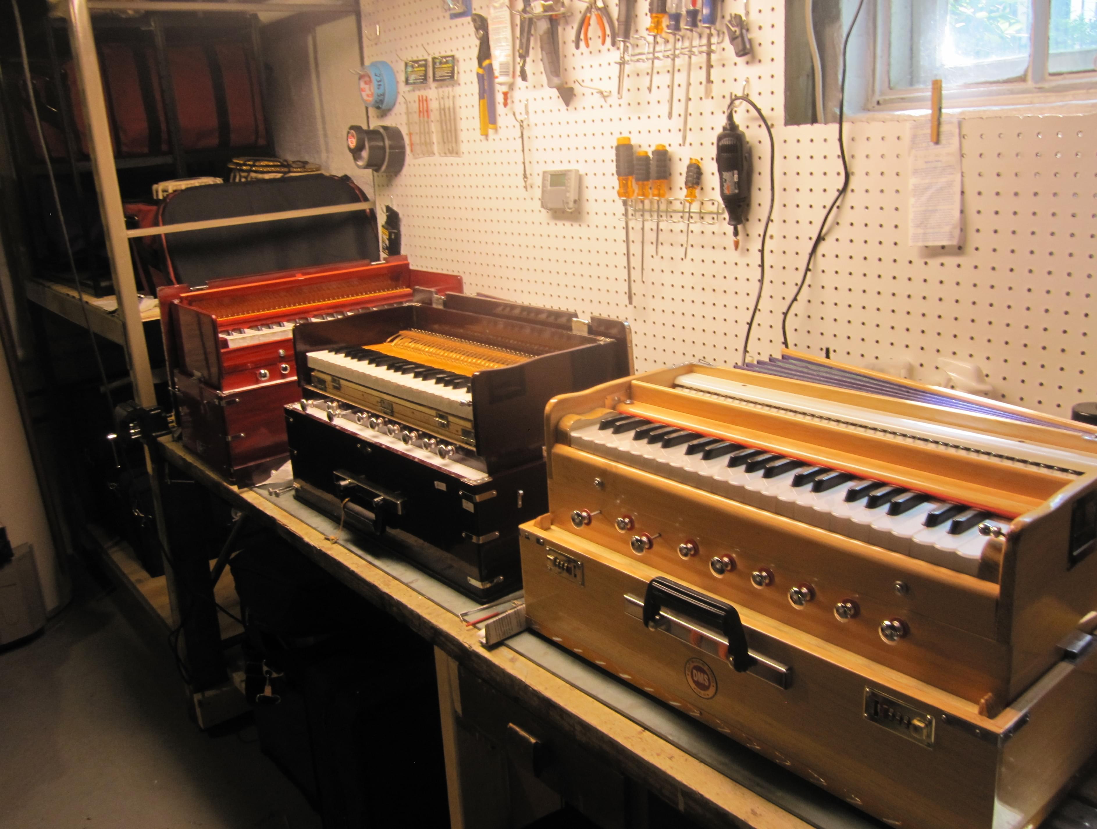 The workbench in Nic Dillon's basement in Urbana