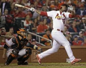 Oscar Taveras homered against the San Francisco Giants in the National League Championship Series on October 12th.