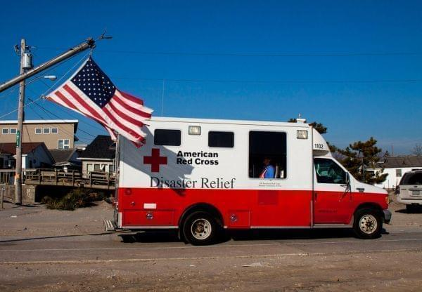 Red Cross truck in Long Island after SuperStorm Sandy