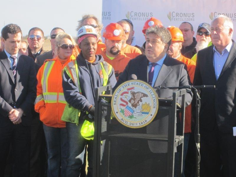 Cronus Chemicals CEO Erzin Atac discusses its new fertilizer plan in Tuscola in October 2014.