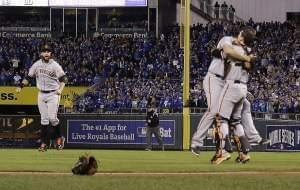The San Francisco Giants celebrate their 3-2 win in Game 7 of the World Series in Kansas City Wednesday.