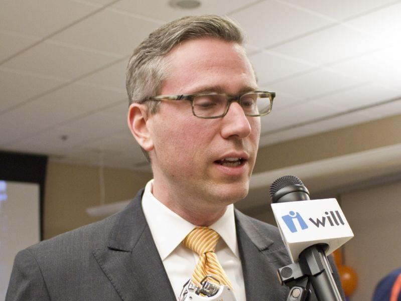 Democratic candidate for state treasurer Mike Frerichs talks to reporters on election night