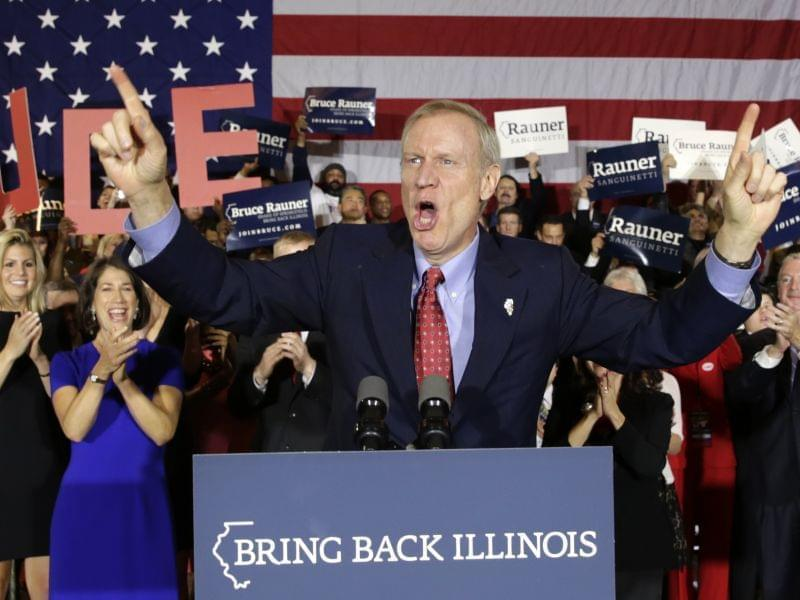 Republican Bruce Rauner celebrates his win over incumbent Democrat Pat Quinn.