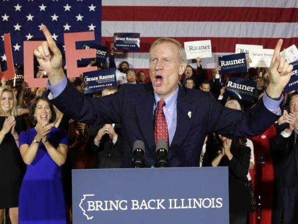 Republican Bruce Rauner celebrates his win over incumbent Democrat Pat Quinn.