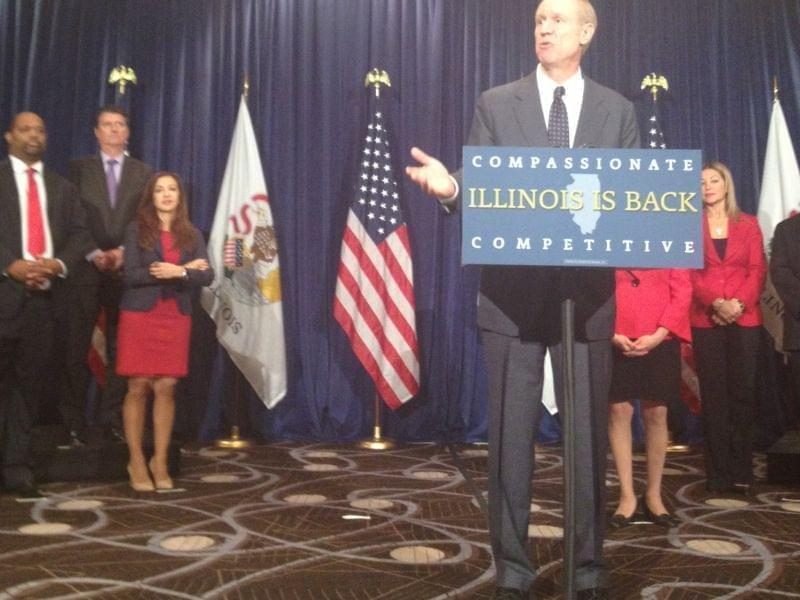"Governor Bruce Rauner introduces members of his ""transition team"" in Chicago."