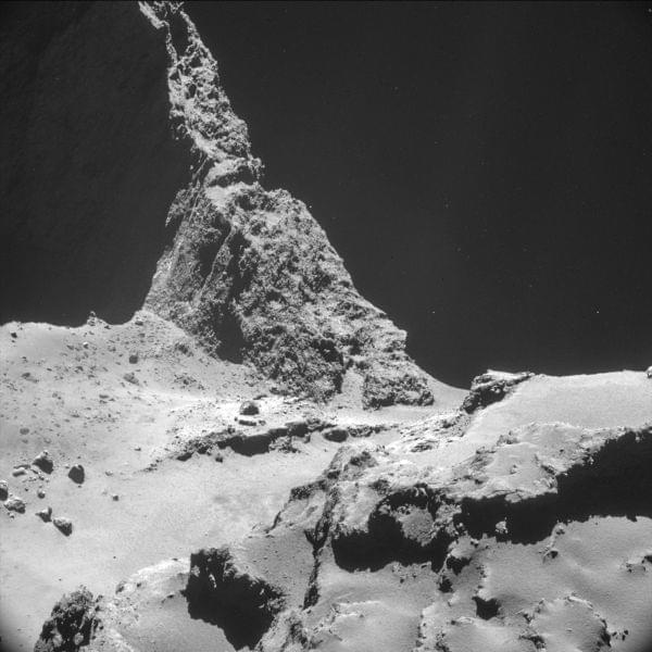 Picture taken by the Rosetta space probe of a section of the comet where a landing will be attempted.