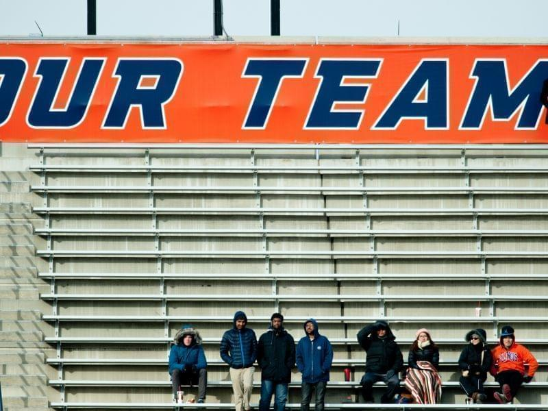 A few Illinois fans remain in the stands of Saturday's game at Memorial Stadium.