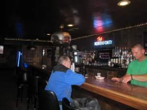 Inside Mike Swinney's bar, North Forty, that sustained some tornado damage, and will re-open soon across Main Street.