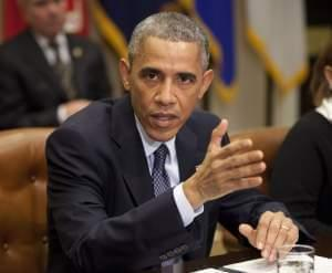 President Barack Obama speaks in the Roosevelt Room of the White House in Washington Tuesday,