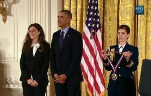 U of I Professor May Berenbaum with President Obama