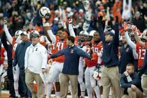 Illinois sideline reacts after David Reisner's game-winning field goal Saturday to defeat Penn State 16 to 14.