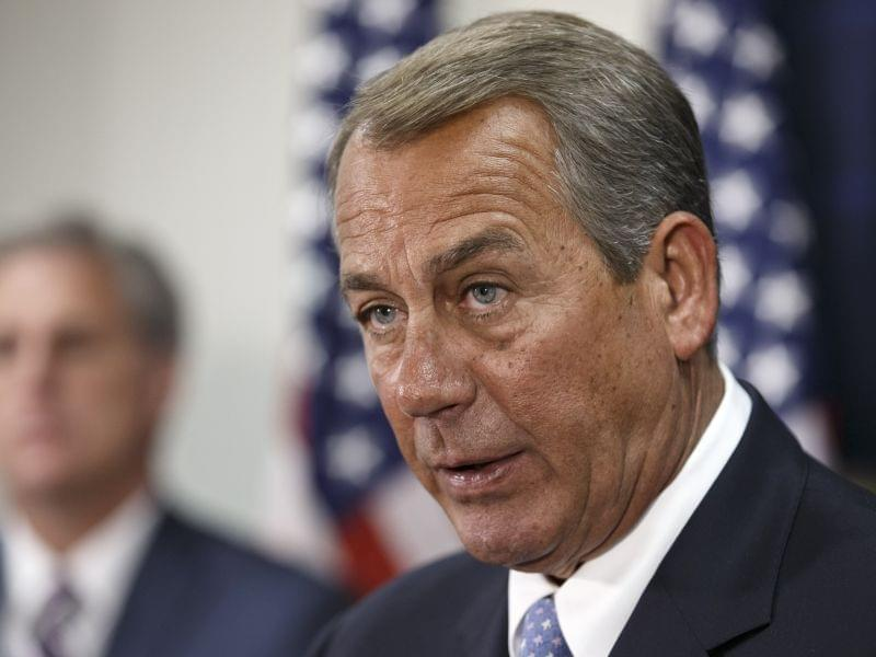 House Speaker John Boehner meets with reporters.