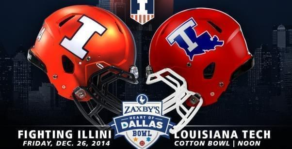 Logo for the 2014 Heart of Dallas Bowl, featuring the Fighting Illini and Louisiana Tech Bulldog helmets.