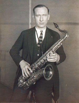 Isham Jones with his saxophone in the 1920's.