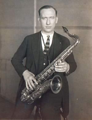 Isham Jones with his saxophone in the 1920's.