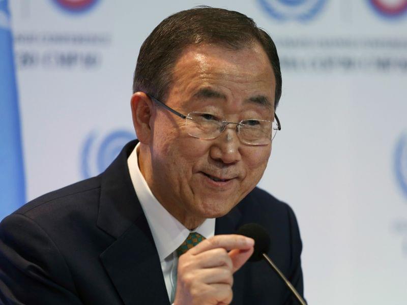 UN Secretary General Ban Ki-Moon during a press conference Tuesday.