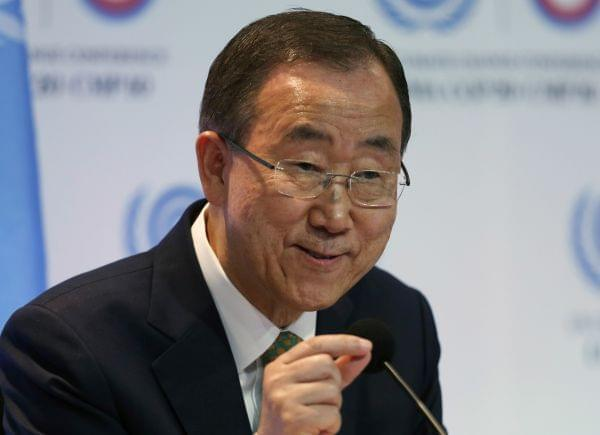 UN Secretary General Ban Ki-Moon during a press conference Tuesday.