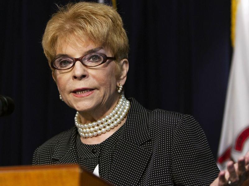 July 2013 file photo of Illinois Comptroller Judy Baar Topinka speaking in Chicago.