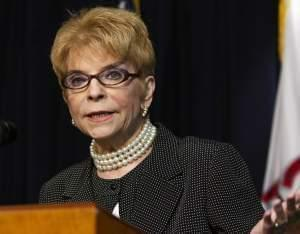 July 2013 file photo of Illinois Comptroller Judy Baar Topinka speaking in Chicago.